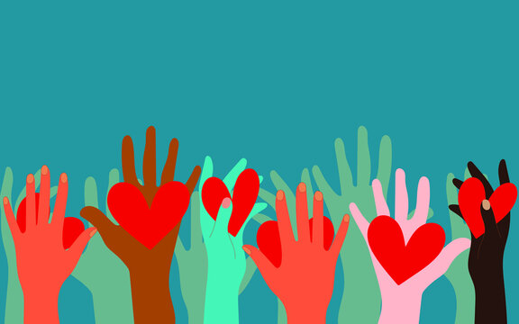 Volunteers, social workers, ordinary people hold hearts in their palms. Unity, cohesion of a multinational society. Charity, voting, donations, social assistance. Blue deep background. Vector graphics