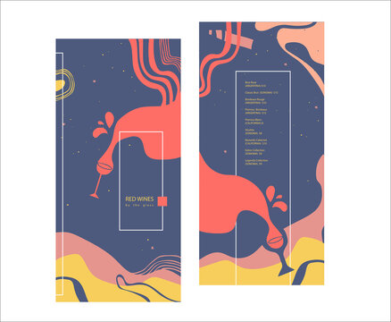 Red wines by the glass. Drinks menu. Pre-made abstract composition. Flat style with lines, abstract spots. Hand-drawn decorative elements. Vector template for menu, list, banner, booklet, flyer.