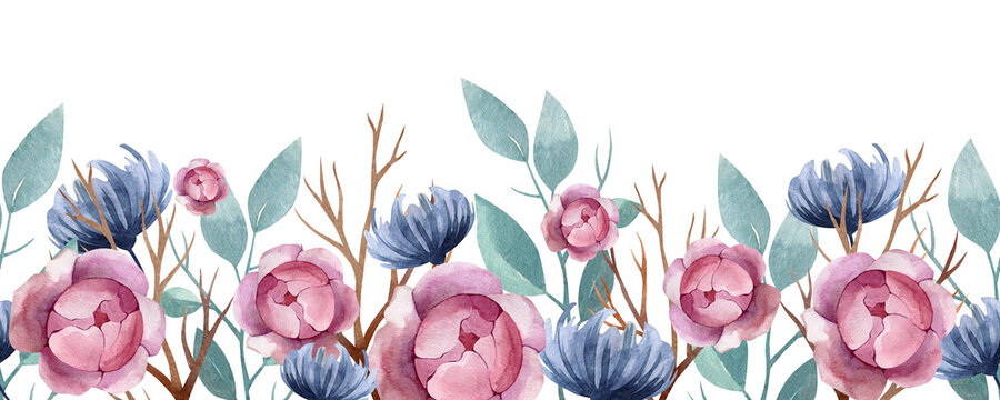 watercolor seamless border beautiful plants and flowers