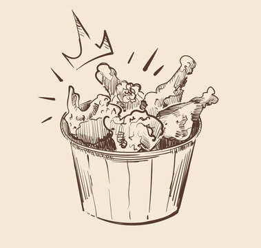 Royal chicken wings in a bucket art