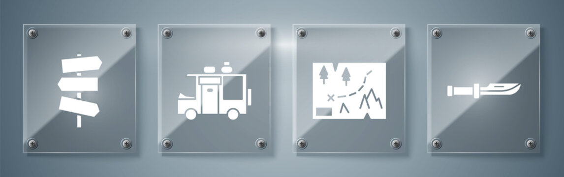 Set Camping knife, Folded map with location, Rv Camping trailer and Road traffic signpost. Square glass panels. Vector