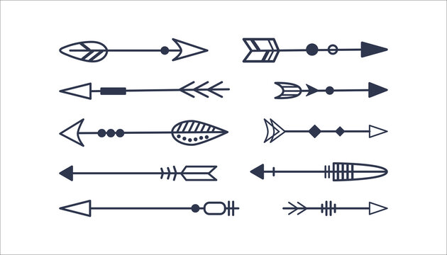 Set of decorative arrows isolated on a white background. Traditional symbol of Native American Indians. Boho design. Vector illustration
