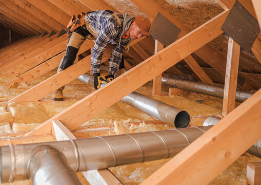 Air Quality HVAC Specialist Installing New Residential Air Duct