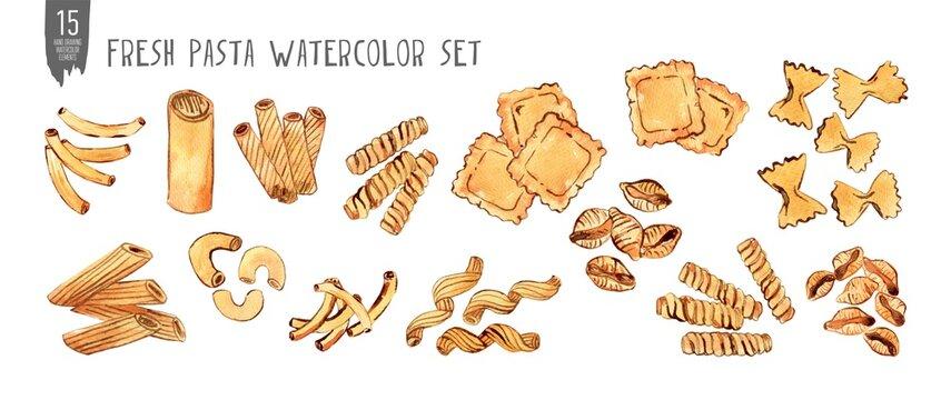 Fresh italian pasta watercolor set. Handdrawnitalian food. Isolation on white watercolor set.