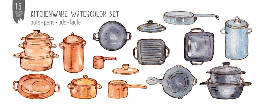 Watercolor pots, pans, lids and ladle set isolated on white. Colorfull set for design textile, wallpapers, prints and banners.