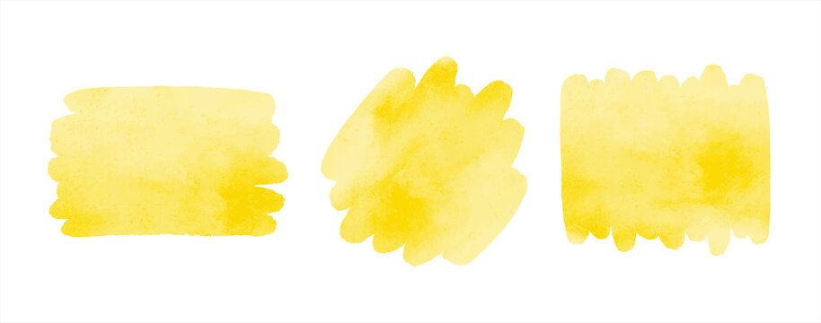 Chrome, amber yellow watercolor vector brush strokes, smears set. Watercolour rounded shape, rectangle smudge artistic backgrounds, text frame templates. Painted hand drawn banners with stains.