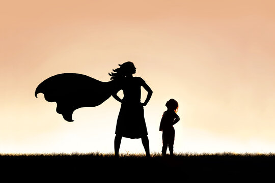 Strong Beautiful Caped Super Hero Woman Silhouette Isolated Agai
