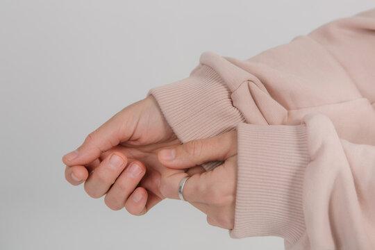 sweatshirt long sleeves female hands elastic bands