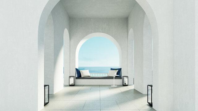 Luxury beach and Pool villa Santorini island style - 3D rendering
