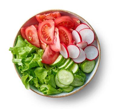 bowl of fresh sliced vegetables