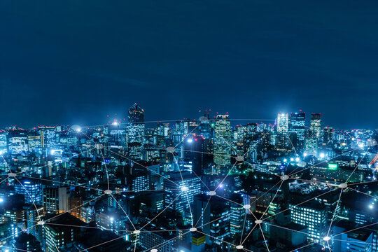 5G. media link connecting on night city background, digital, internet, communication, cyber tech, speed internet, networking, smart city, business, partnership, network connection, technology concept