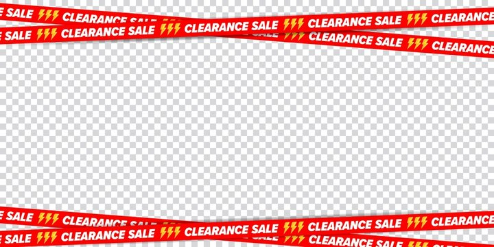 Clearance sale ribbon border frame for discount advertising. Crossed restriction tape on transparent background. Decoration element for banner, poster, brochure and flyer vector illustration