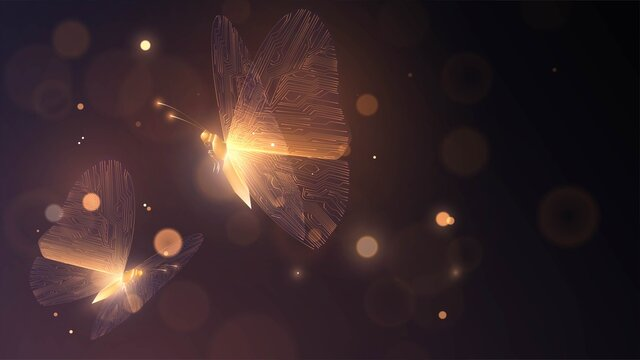 Two golden glowing butterflies with circuit wings on a dark background