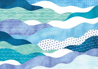 Fototapeta ポップな模様の波柄水彩