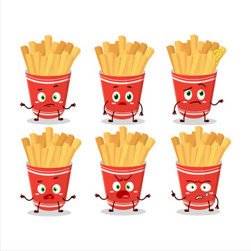 Cartoon character of cup of french fries with what expression
