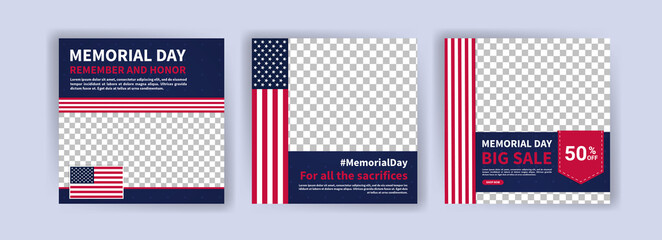 Fototapeta Memorial day greeting card displayed with the national flag of the United States of America. Social media templates for memorial day.