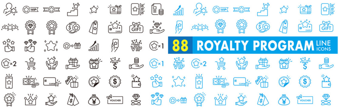 Royalty program line icon set. Included icons as member, VIP, exclusive, diamond, badge, high level and more.