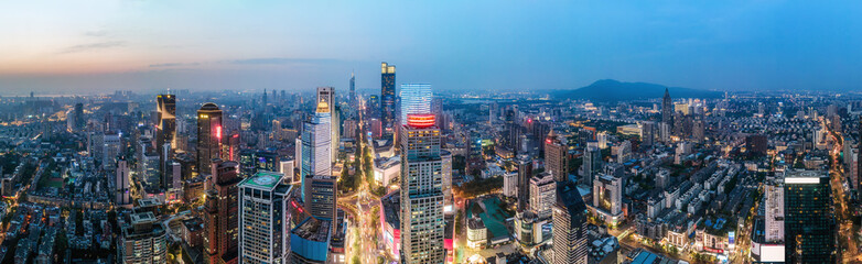 Fototapeta Aerial photography of the night view of modern city buildings in Nanjing