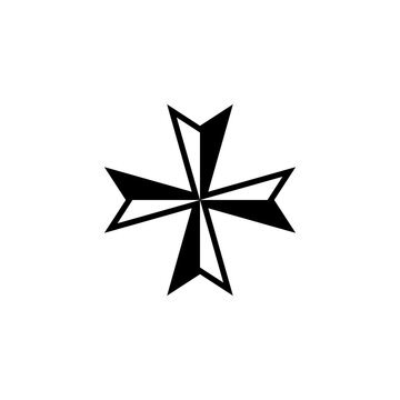 Maltese cross icon isolated on white background.