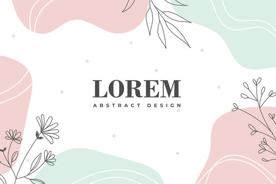 Hand drawn abstract design background with pastel colors and plant ornament. Vector illustration.