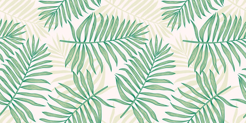 Tropical seamless pattern with palm leaves. Modern abstract design for paper, cover, fabric, interior decor and other Wall mural
