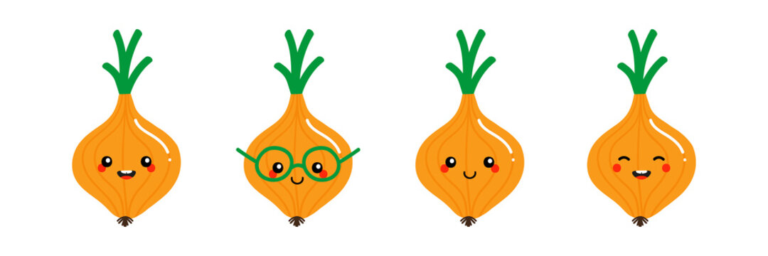 Set, collection of cute smiling cartoon style onion, onion bulb vegetable characters for food and cooking design.