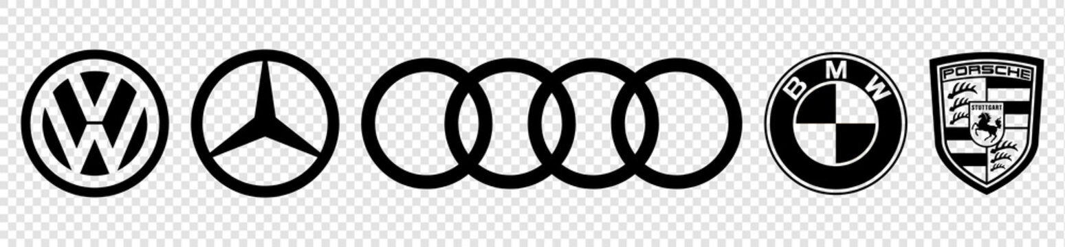 Vinnytsia, Ukraine - April 22, 2021: Set of black logo of top Germany auto cars companies. BMW, Volkswagen, Mercedes, Audi and Porsche. Editorial vector