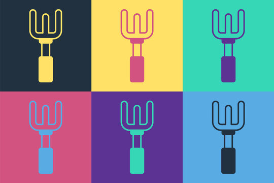 Pop art Garden rake icon isolated on color background. Tool for horticulture, agriculture, farming. Ground cultivator. Housekeeping equipment. Vector