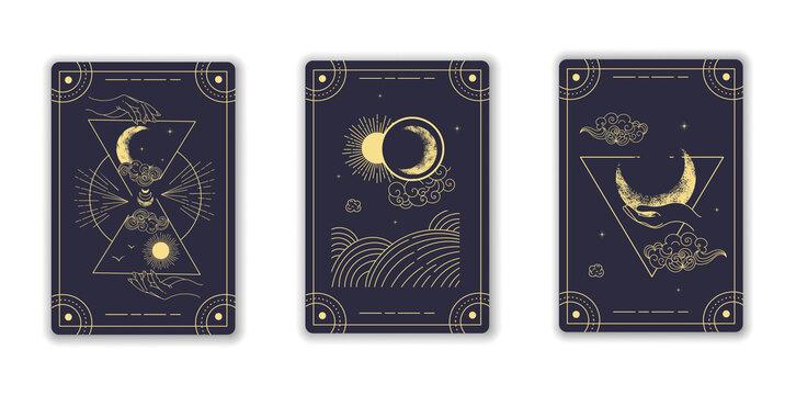Beautiful blue magical tarot cards