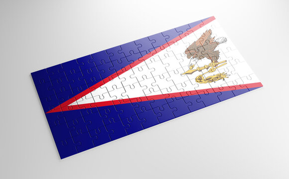 A jigsaw puzzle with a print of the flag of American Samoa, pieces of the puzzle isolated on white background. Fulfillment and perfection concept. Symbol of national integrity. 3D illustration.