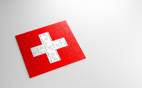 A jigsaw puzzle with a print of the flag of Switzerland, pieces of the puzzle isolated on white background. Fulfillment and perfection concept. Symbol of national integrity. 3D illustration.
