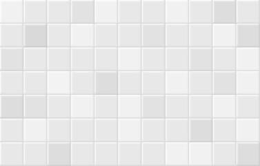 Obraz Square tiles seamless pattern. White ceramic tile background. - fototapety do salonu