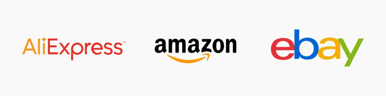 Aliexpress, Ebay, Amazon - popular online store logos. Popular logos on an isolated background. Stock illustration EPS 10