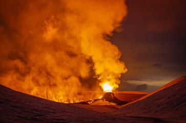 Obraz fagradalsfjall volcano eruption, iceland, volcano, lava show  - fototapety do salonu
