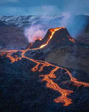 fagradalsfjall volcano eruption, iceland, volcano, sunrise light, lava show