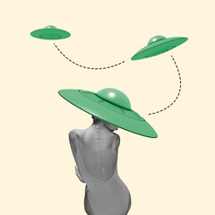 Contemporary art collage, modern design. Retro style. Beautiful ballerina in green stylish hat as...