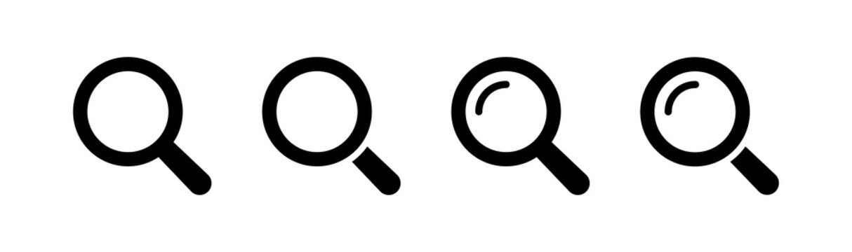 Magnifying Glass Icon Set. Collection of Magnifying Glass Vector Symbol Icons for Search or Zoom.