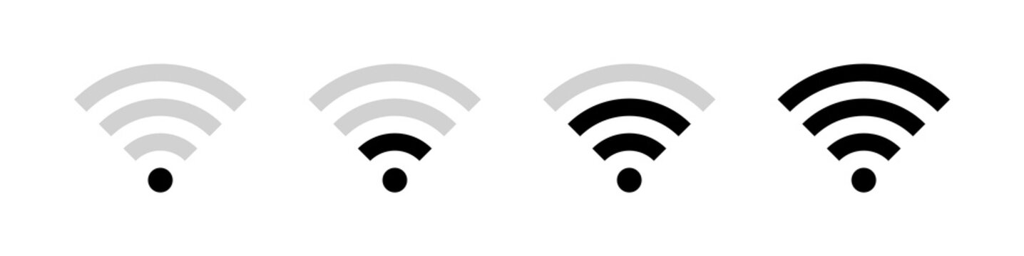 Wifi Icon Symbol Set. Wireless Wi-fi  Signal Vector Illustration Icons. Internet Access Connection Status Bar Icon Collection.