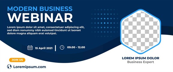 Fototapeta Business webinar horizontal banner design. Modern banner design with dark blue and white background color and place for the photo.