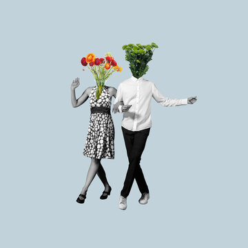 Contemporary art collage, modern design. Retro style. Couple of dancers headed with flowers and plants on blue pastel background.