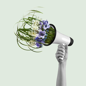 Contemporary art collage, modern design. Retro style. Megaphone with bouquet with blooming spring flowers on pastel background.