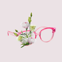 Contemporary art collage, modern design. Retro style. Eyeglasses with bouquet with blooming spring...