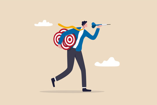 Handle multiple businesses simultaneously, multi purpose or multitasking, side hustle or side job concept, confident businessman carrying many dartboard target.