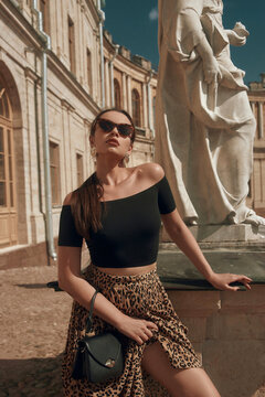 Young beautiful sexy tanned caucasian woman with perfect mak-up and pony tail brunette hair in black top and leopard skirt standing against old palace on a sunny day