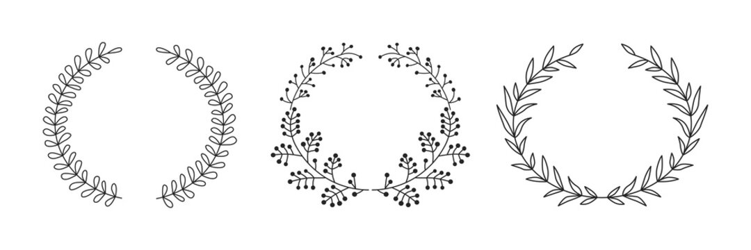 Set of floral circle borders. Decorative vector elements.