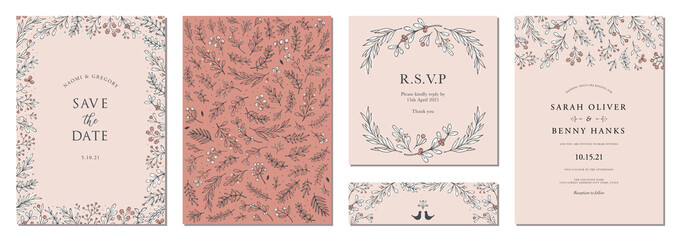 Modern universal artistic templates. Wedding invitations and corporate Holiday cards. Floral frames and backgrounds design.