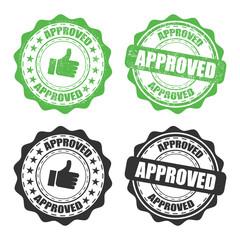 Fototapeta Set of approved rubber stamp on a transparent background