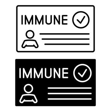 Immune card in outline and in glyph style. Vaccine passport. Vaccination certificate or card against Covid-19. Paper document to show that a person has been vaccinated with the Covid-19 vaccine