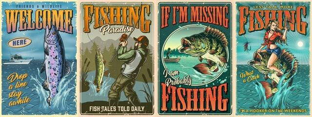 Vintage fishing colorful posters