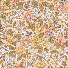 Vintage seamless floral pattern. Liberty style background of small coral pink flowers. Small flowers scattered over a beige background. Stock vector for printing on surfaces. Realistic flowers.